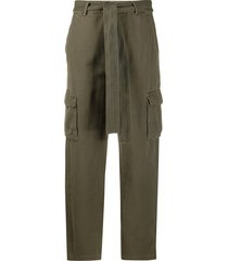 anine bing tie waist trousers - green