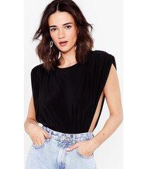 womens let's slink about it petite shoulder pad bodysuit - black