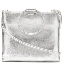 thacker le pouch leather ring handle crossbody bag - metallic