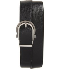 men's salvatore ferragamo reversible leather belt, size 34 - nero/ hickory