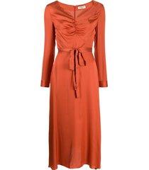 jovonna modernista ruched-neck dress - orange