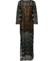alberta ferretti crochet maxi dress - black