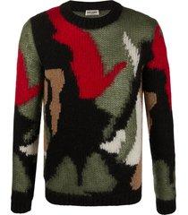 saint laurent camouflage intarsia jumper - black