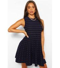 mouwloze gebreide peplum jurk, blauw