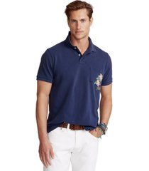 polo ralph lauren men's custom slim fit floral mesh polo shirt