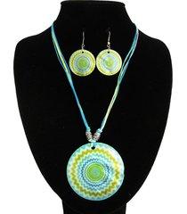 collar nacar verde circulos acl-12682