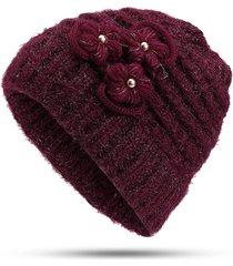 cappello invernale lavorato a maglia in lana calda invernale da donna plus cappello esterno in velluto casual a vento