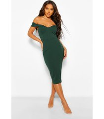 gedrapeerde midi jurk met open schouders, groen