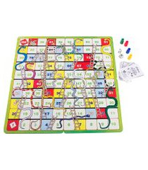 jogo educativo cobras e escadas carlu com 54 cartas