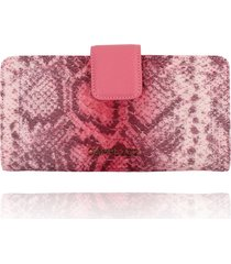 carteira clutch campezzo snake pink