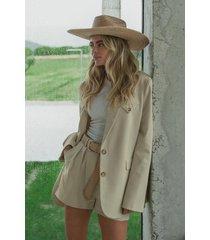 claire rose x na-kd oversized kavaj med fickdetalj - beige