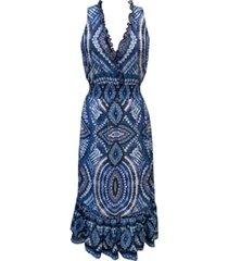 taylor petite printed ruffled a-line dress