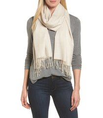 women's nordstrom tissue weight wool & cashmere scarf, size one size - beige