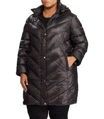 plus size women's lauren ralph lauren packable faux suede trim quilted down coat, size 1x - black