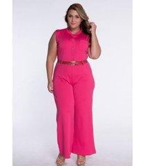 mono informal sin mangas con cuello redondo y cintura alta para mujer con cinturón rosa rojo