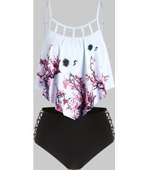 plus size plum blossom lattice cutout tankini swimwear