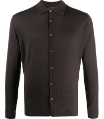 dell'oglio ribbed-knit collared sweatshirt - brown