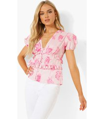 geweven paisley blouse met pofmouwen, rose