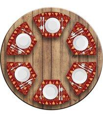 jogo americano love decor para mesa redonda wevans premium vermelho kit com 6 pçs
