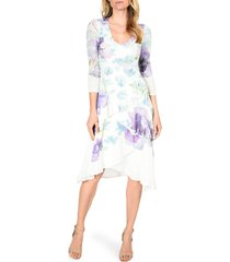 women's komarov floral print charmeuse tiered dress