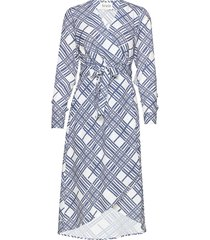 printed cape dress jurk knielengte wit maud