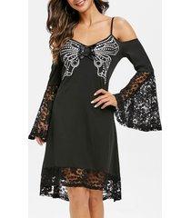 open shoulder bell sleeve lace panel butterfly print dress