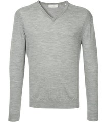 cerruti 1881 long-sleeve fitted sweater - grey