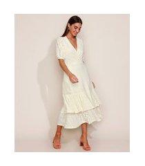 vestido de laise feminino midi em camadas com babado manga bufante off white