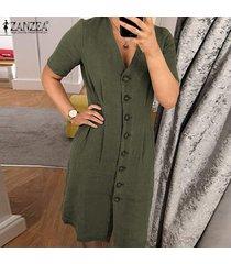 zanzea vestido de camisa básica de verano con cuello en v para mujer vestido de oficina para mujer -ejercito verde