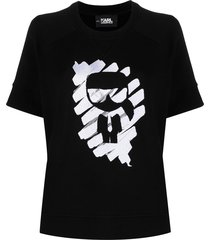 karl lagerfeld ikonik graffiti short-sleeved sweatshirt - black