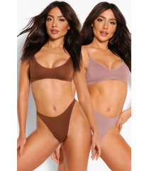 2 pack seamfree triangle bralette, mocha