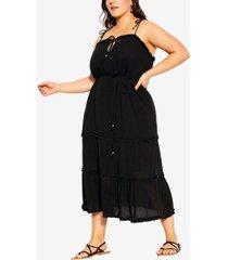 city chic trendy plus size fine frill maxi dress