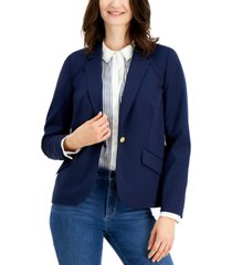 charter club petite lined button front blazer, created for macy's