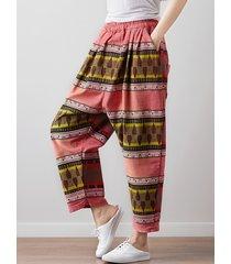 pantaloni harem da donna elasticizzati con stampa etnica