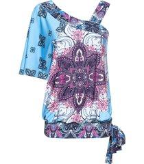 maglia monospalla con nodo (blu) - bodyflirt boutique