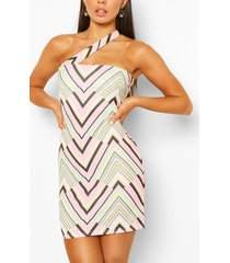geo print one shoulder mini dress, pink