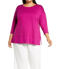 plus size women's eileen fisher ballet neck jersey tunic, size 1x - pink