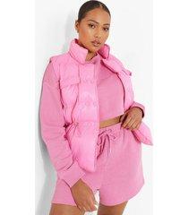 plus gewatteerde mouwloze bodywarmer, pink