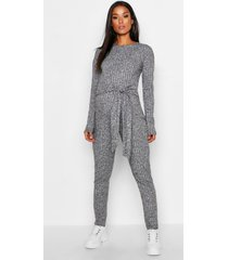 maternity rib twist front tie jumpsuit, black
