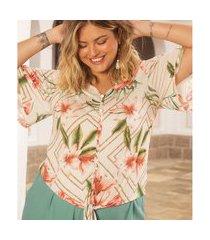 camisa plus size feminina estampada secret glam bege