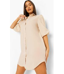 oversized blouse jurk met pofmouwen, stone