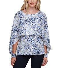 dkny floral-print cape-overlay top