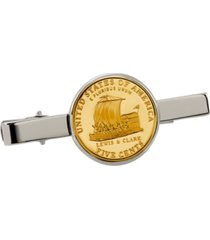 american coin treasures gold-layered westward journey keelboat nickel coin tie clip