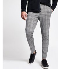 river island mens grey check super skinny crop fit trousers