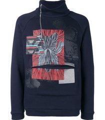 emporio armani printed high neck sweatshirt - blue