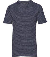alder striped tee t-shirts short-sleeved blå knowledge cotton apparel