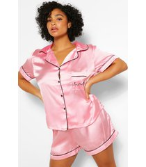 plus satijnen pyjama set met shorts, blush
