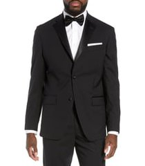 men's nordstrom men's shop trim fit stretch wool dinner jacket, size 48 long - black