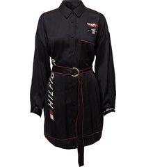 speed silk shirt ls kort klänning svart tommy hilfiger