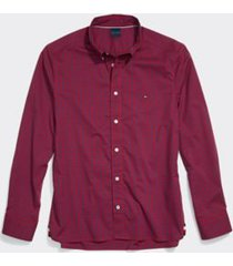 tommy hilfiger men's adaptive custom fit gingham shirt apple red - xxl